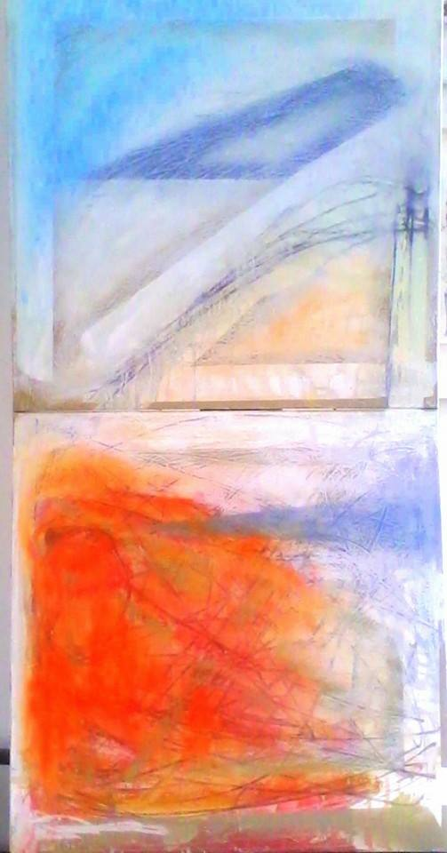 2 canvases, each 60 cm square one above the other a diptych oil paint with siccative for the first coat then taped and painted again then tape removed followed by oil bars finally graphite pencil marks part landscape part dream