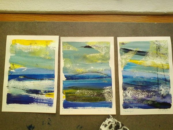 3 small acrylic and graphite sketches