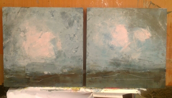 evening sky oil and wax on panels 40cm sq